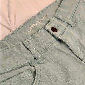 Teal blue jean shorts